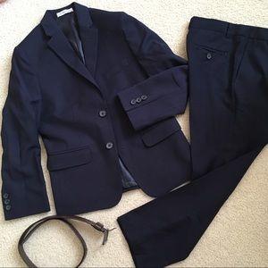 3 pcs boys IZOD suit navy blazer pants belt 7/8